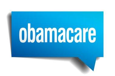obamacare blue 3d realistic paper speech bubble