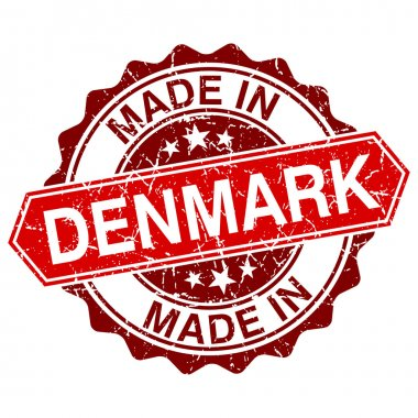 made in Denmark red stamp isolated on white background