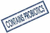 enthält Probiotika blauen quadratischen Stempel isoliert auf weißem Hintergrund