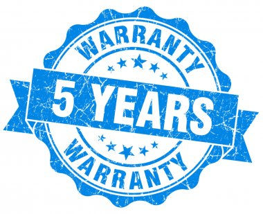 5 years warranty blue vintage isolated seal