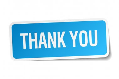 Thank you blue square sticker isolated on white clip art vector