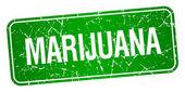 Marihuana Zelený čtvereček grunge texturou izolované razítko