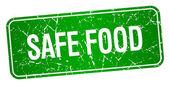 bezpečné potraviny zelené náměstí grunge texturou izolované razítko