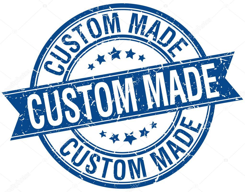 custom made grunge retro blue isolated ribbon stamp