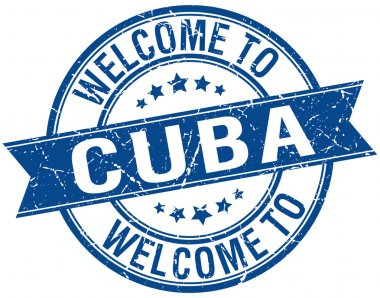 welcome to Cuba blue round ribbon stamp
