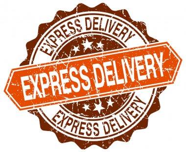 express delivery orange round grunge stamp on white