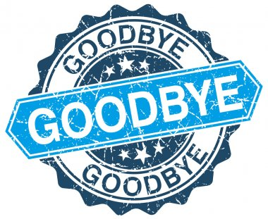 goodbye blue round grunge stamp on white