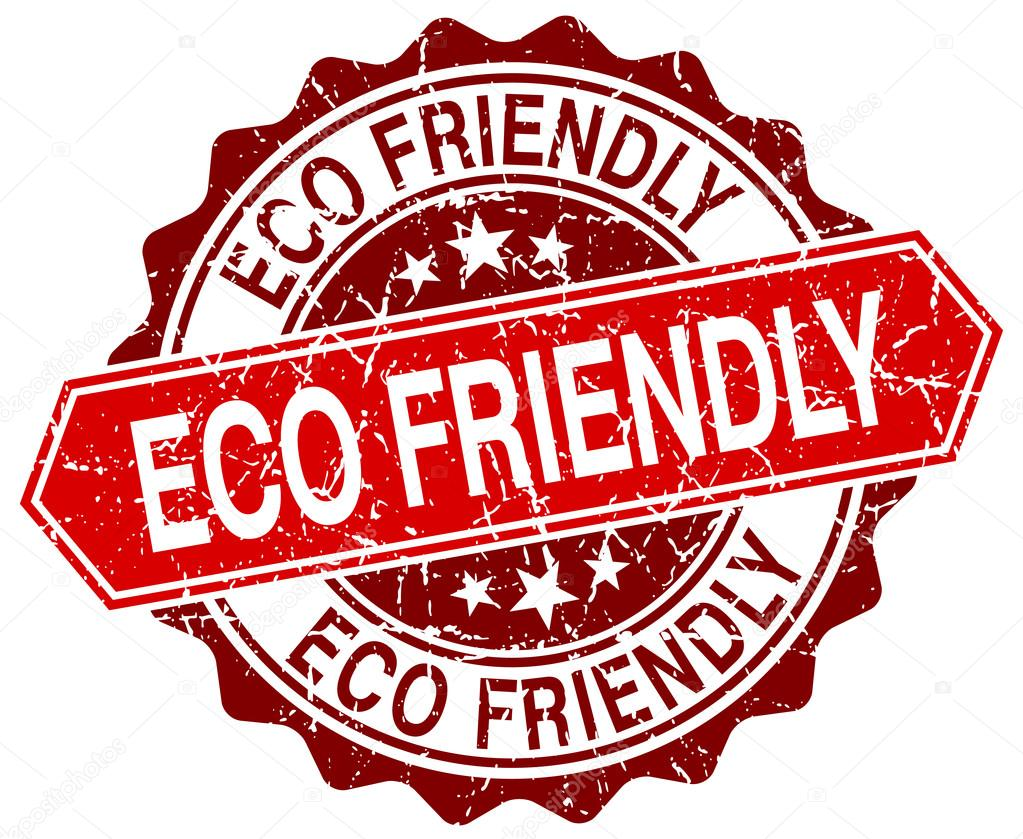 eco friendly red round grunge stamp on white