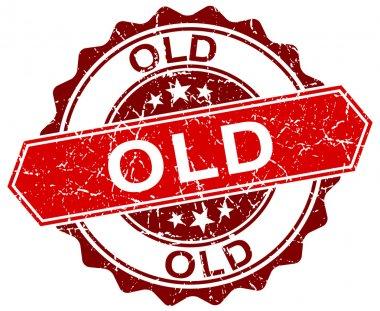 old red round grunge stamp on white