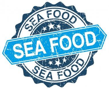 sea food blue round grunge stamp on white