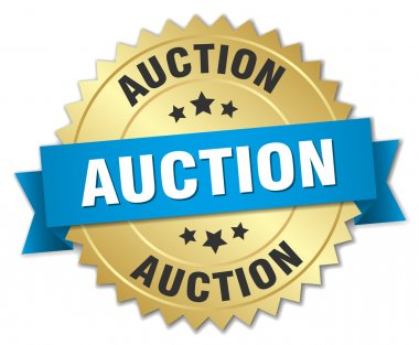 auction 3d gold badge with blue ribbon