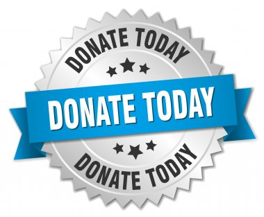 donate today 3d silver badge with blue ribbon