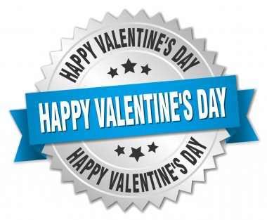 happy Valentine's day 3d silver badge with blue ribbon