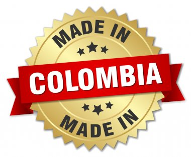 made in Colombia gold badge with red ribbon