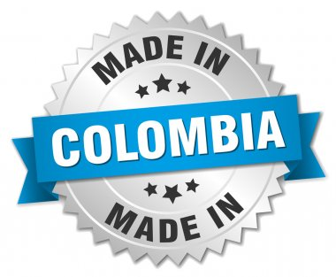 made in Colombia silver badge with blue ribbon
