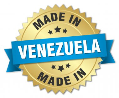 made in Venezuela gold badge with blue ribbon
