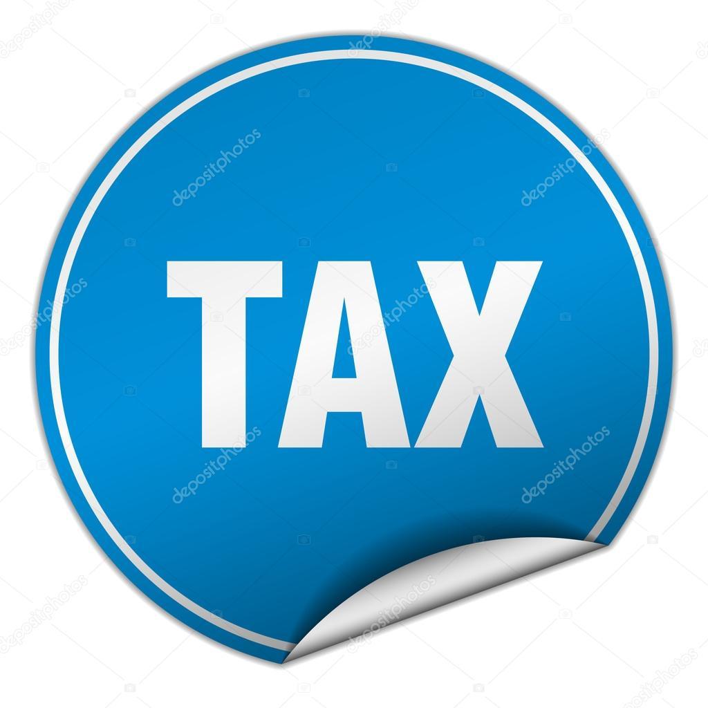 Steuer-Runde blaue Plakette isoliert auf weiss — Stockvektor ...