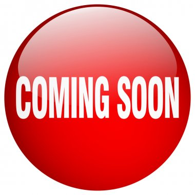 coming soon red round gel isolated push button