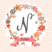 Fotografie Floral wreath with letter N