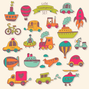 Transportation icons color set