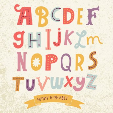 Bright funny cartoon alphabet