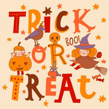 Bright trick or treat halloween  card