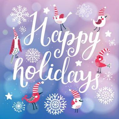 Happy holidays cartoon card