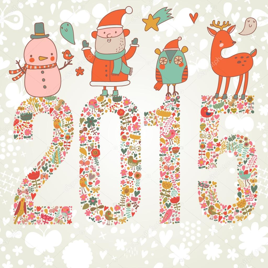 e4f7cf5f4a873 Happy New Year and Merry Christmas card in vector. Bright funny cartoon card  with Santa Claus
