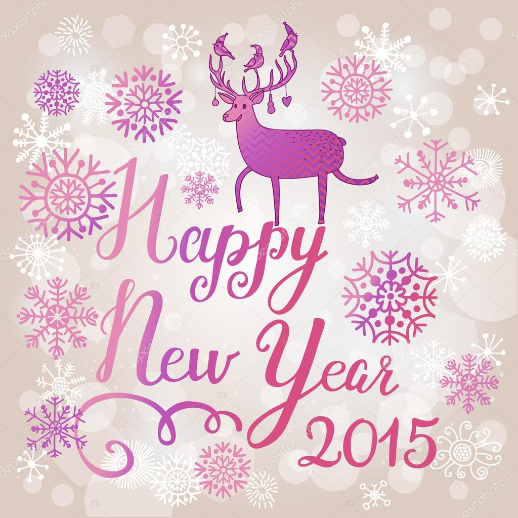 Happy new 2015 year stock vector smilewithjul 75029245 stylish happy new 2015 year card in popular violet colors deer silhouette on holiday text in vector beautiful snowfall on bright background vector by kristyandbryce Image collections