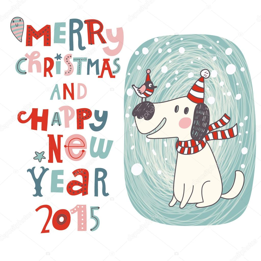 Christmas card with dog — Stock Vector © smilewithjul #75029703