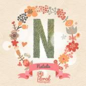Fotografie Stylish floral letter N