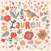 Photo beautiful floral card with name Lauren