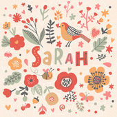 Photo beautiful floral card with name Sarah