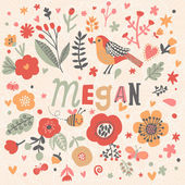 Photo beautiful floral card with name Megan