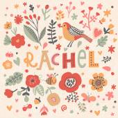 Fotografie beautiful floral card with name Rachel
