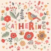 Photo beautiful floral card with name Katherine