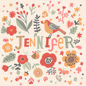 Photo beautiful floral card with name Jennifer