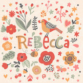 Fotografie Floral decorative card with name Rebecca
