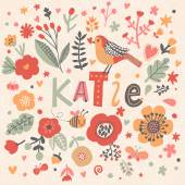 Fotografie beautiful floral card with name Katie