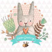 Velikonoční přání s králíčkem