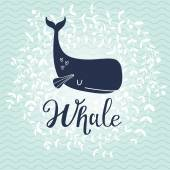 Fotografie blue cartoon whale card