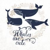 Fotografie Cartoon whales card