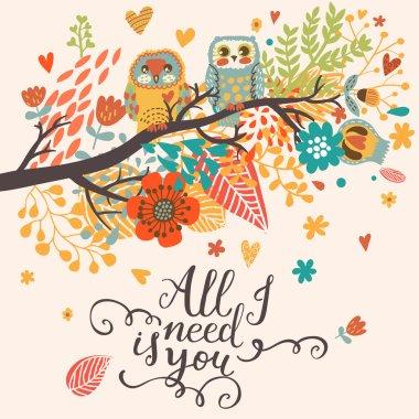 cartoon romantic card with owls