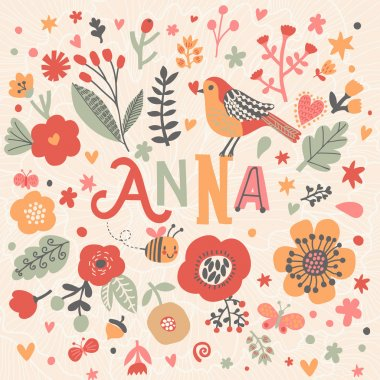 beautiful floral card with name Anna