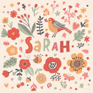 beautiful floral card with name Sarah