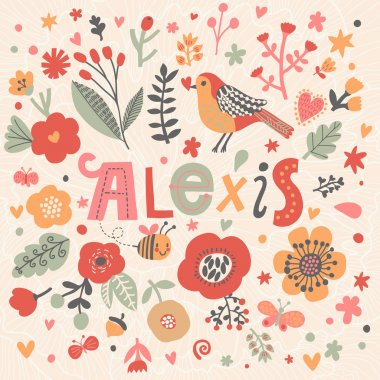 beautiful floral card with name Alexis