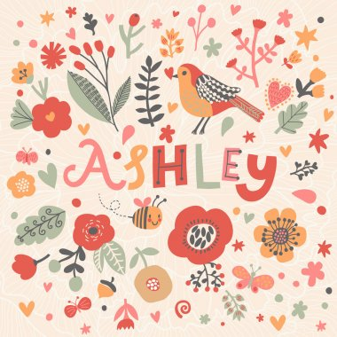 beautiful floral card with name Ashley