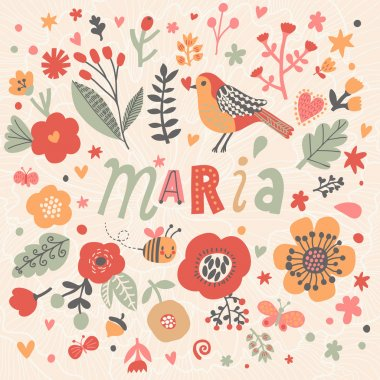 beautiful floral card with name Maria
