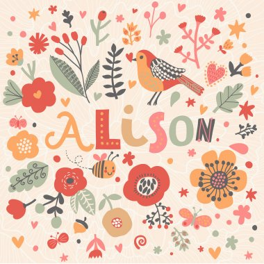 beautiful floral card with name Alison