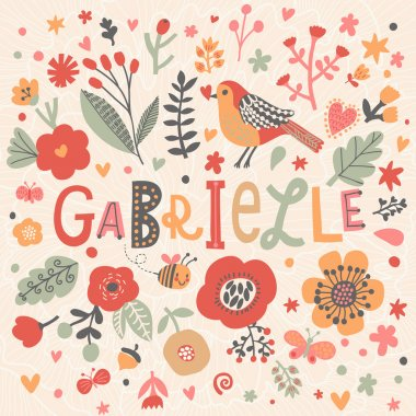 beautiful floral card with name Gabrielle